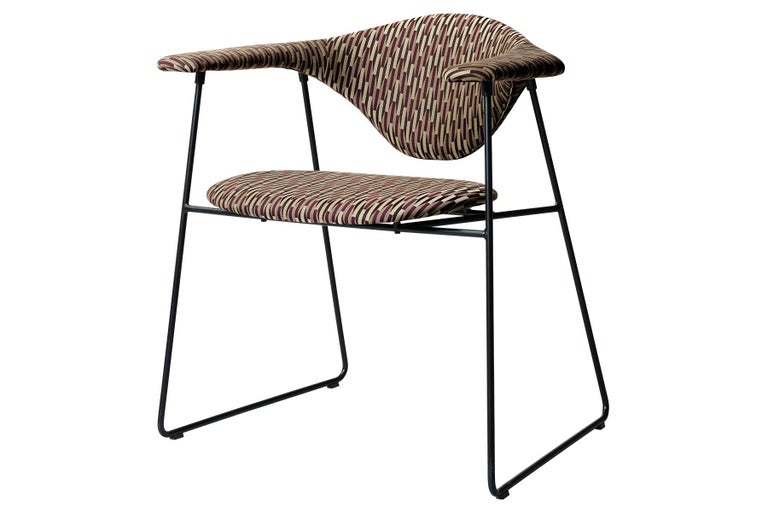 Mid-Century Modern Masculo Dining Chair, Fully Upholstered, Sledge Base For Sale