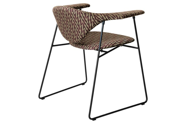 Danish Masculo Dining Chair, Fully Upholstered, Sledge Base For Sale