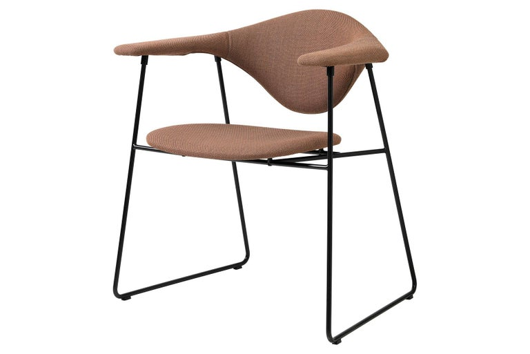 Polished Masculo Dining Chair, Fully Upholstered, Sledge Base For Sale