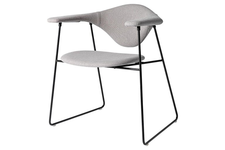 Contemporary Masculo Dining Chair, Fully Upholstered, Sledge Base For Sale