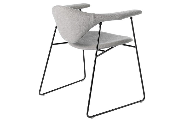 Metal Masculo Dining Chair, Fully Upholstered, Sledge Base For Sale