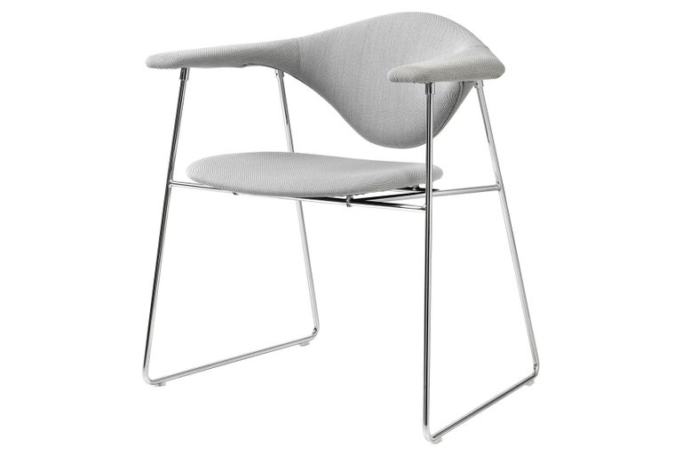 Masculo Dining Chair, Fully Upholstered, Sledge Base For Sale 1