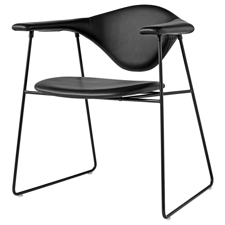 Masculo Dining Chair, Fully Upholstered, Sledge Base For Sale