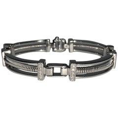 18 Karat White Gold Diamonds Coil Men's Bracelet