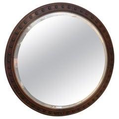 Masculine 19th Century Large Round Mahogany Mirror