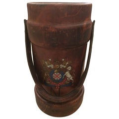 Masculine 19th Century Leather Cordite Case or Bucket with Hand-Painted Crest