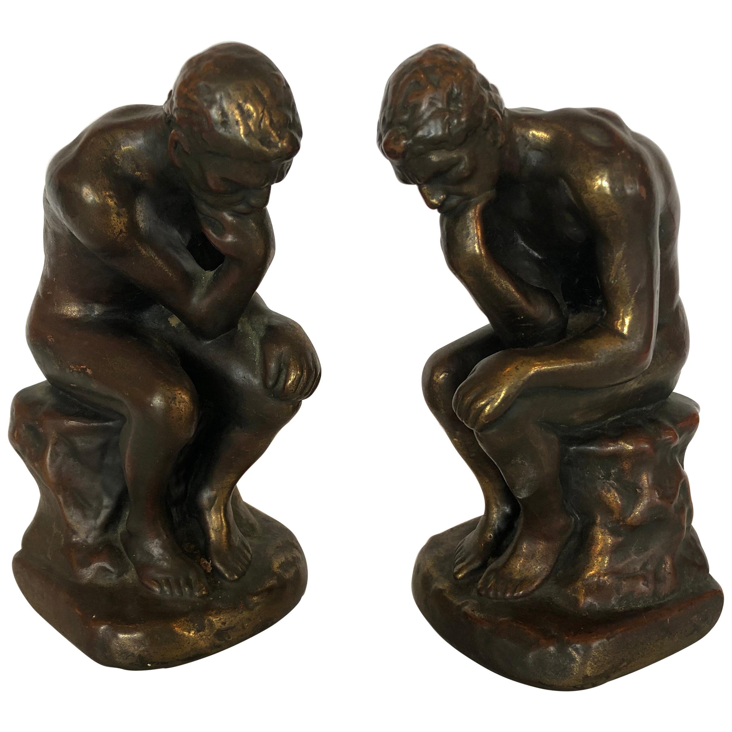 Masculine Bronze Clad Male Nude Bookends