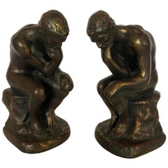 Masculine Bronze Clad Male Nude Bookends
