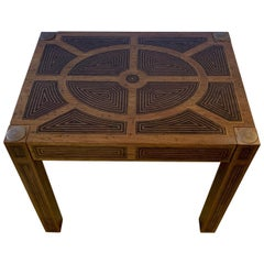 Masculine Inlaid Wood Rectangular End Table with Geometric Decoration