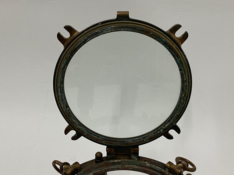 Masculine Nautical Antique Brass Porthole End Table For Sale 4
