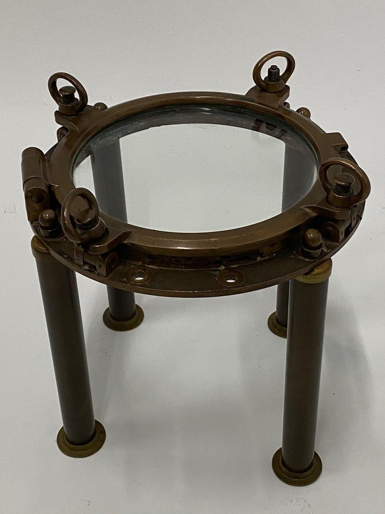 Masculine Nautical Antique Brass Porthole End Table For Sale 5