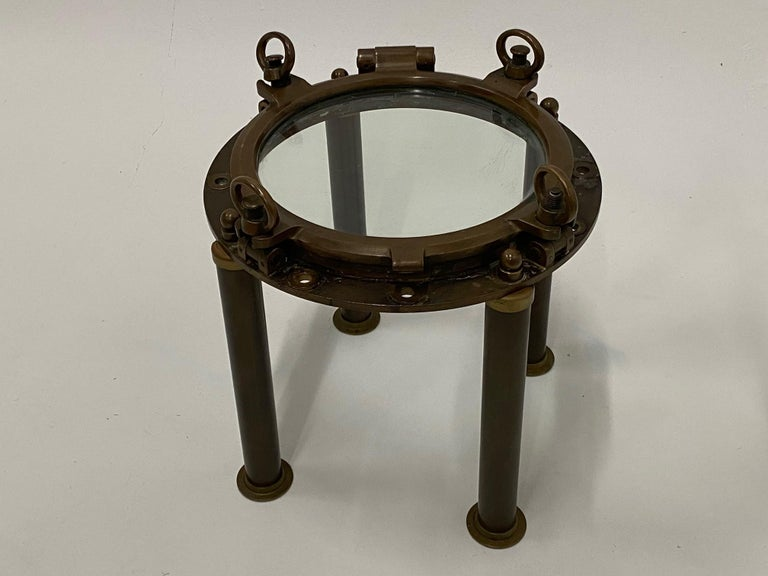 Industrial Masculine Nautical Antique Brass Porthole End Table For Sale