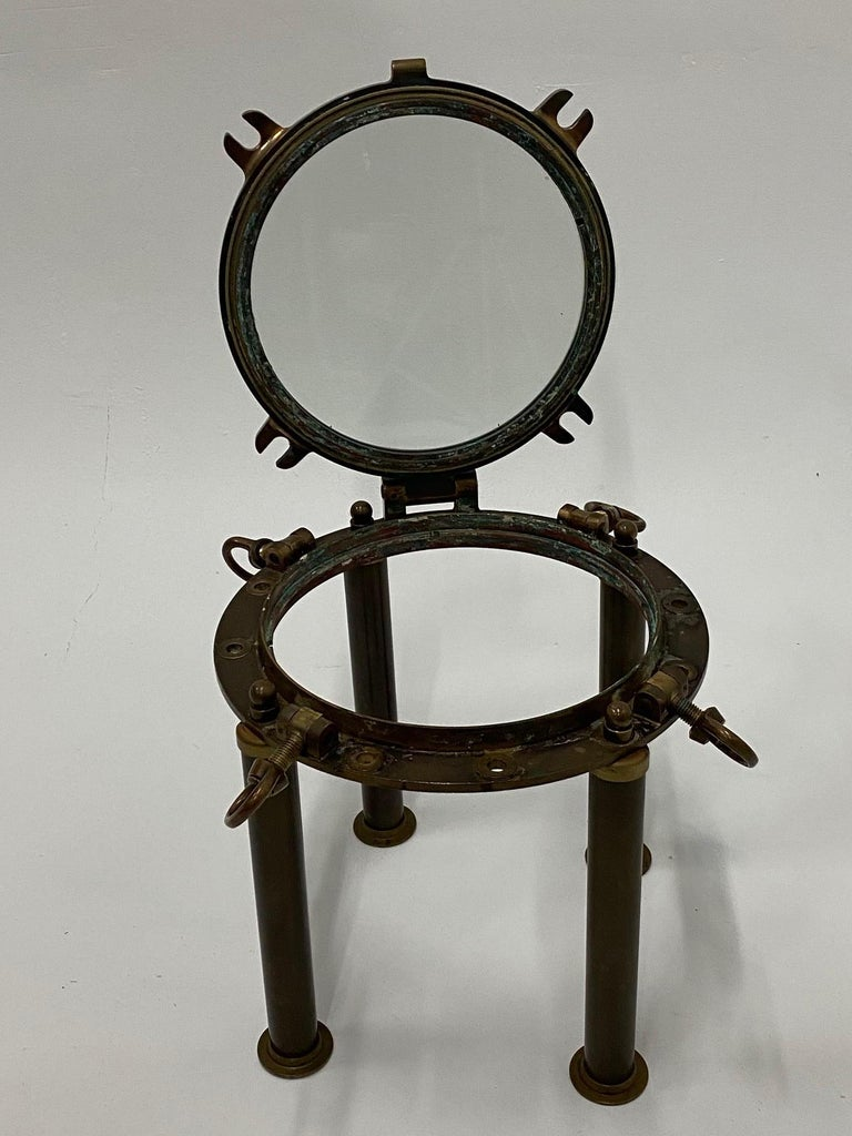 Masculine Nautical Antique Brass Porthole End Table For Sale 3