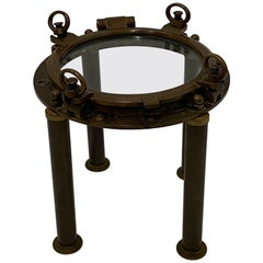 Masculine Nautical Antique Brass Porthole End Table