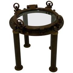 Masculine Nautical Antique Brass Porthole End Table