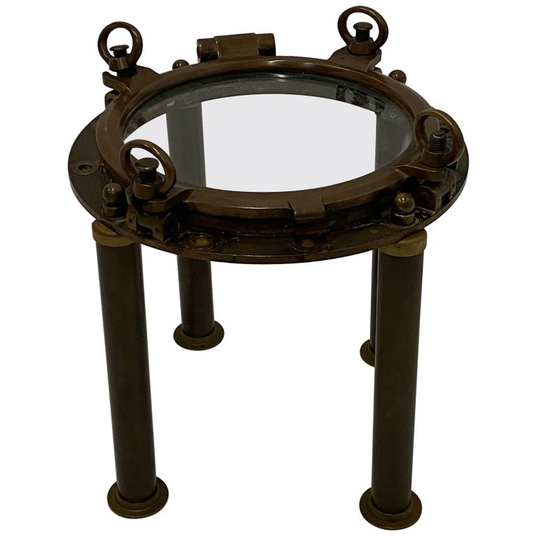 Masculine Nautical Antique Brass Porthole End Table For Sale