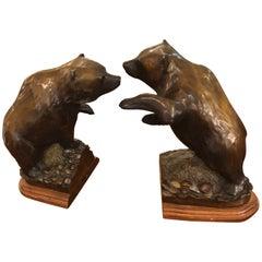 Masculine Pair of Bronze Bear Bookends