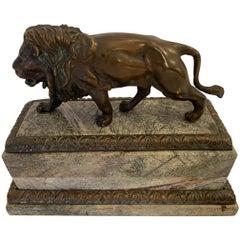 Masculine Rich Bronze Lion Sculpture on Marble Base