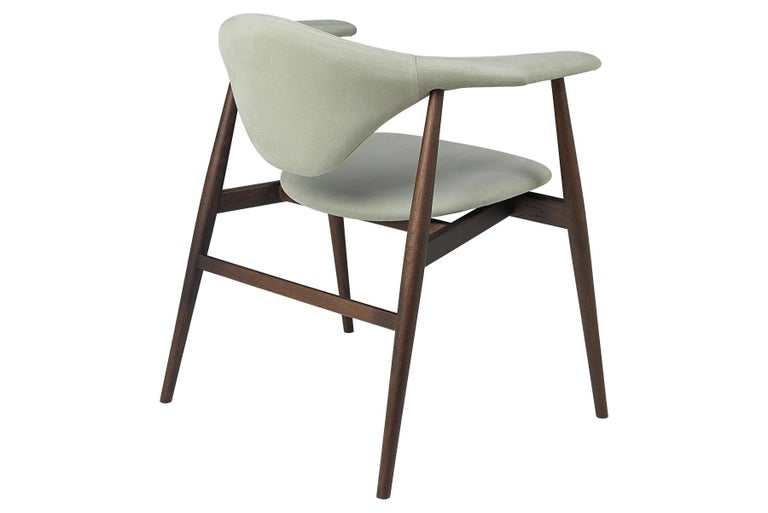 Contemporary Masculo Dining Chair, Fully Upholstered, Smoked Oak Base For Sale