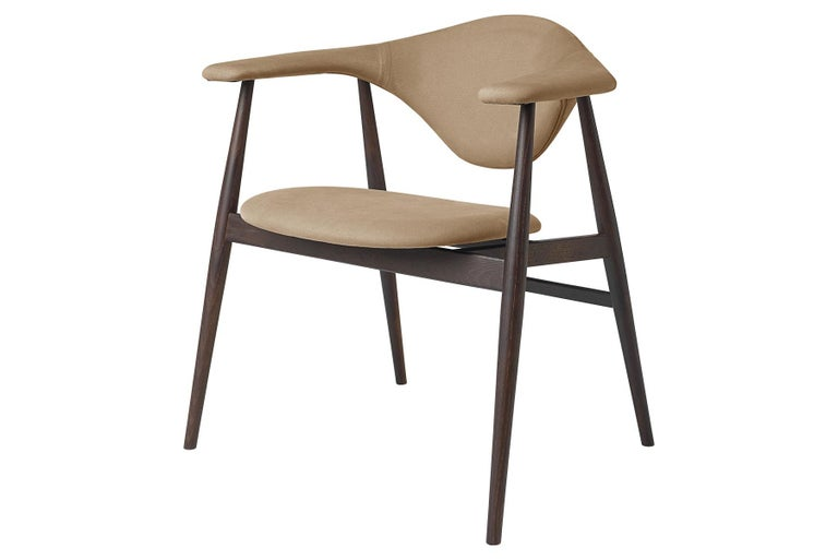 Masculo Dining Chair, Fully Upholstered, Smoked Oak Base For Sale 1