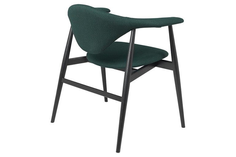 Mid-Century Modern Masculo Dining Chair, Fully Upholstered, Stained Ash Base For Sale