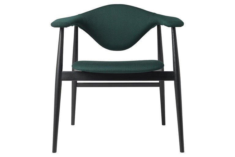 Danish Masculo Dining Chair, Fully Upholstered, Stained Ash Base For Sale