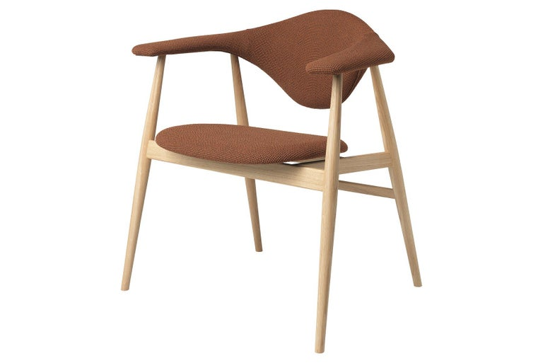 Mid-Century Modern Masculo Dining Chair, Fully Upholstered, Walnut Base For Sale