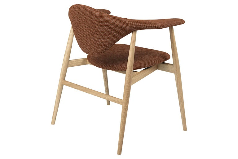 Lacquered Masculo Dining Chair, Fully Upholstered, Walnut Base For Sale