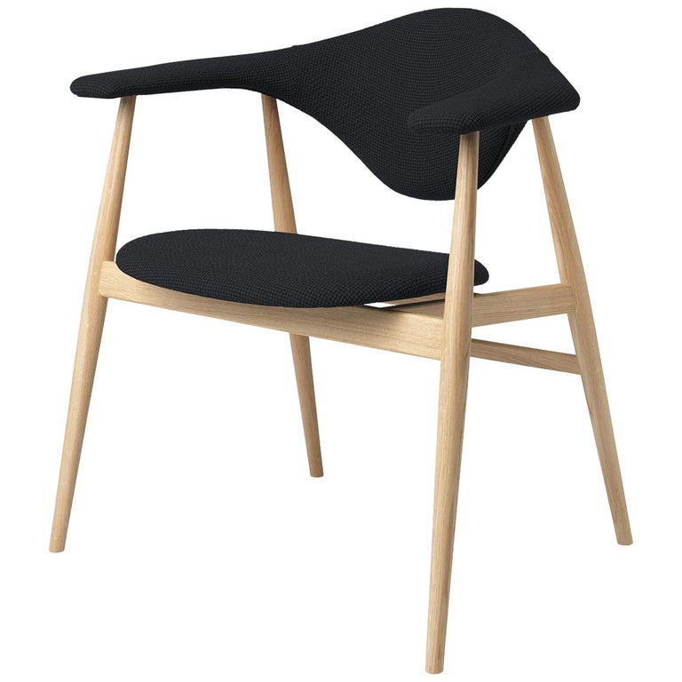 Masculo Dining Chair, Fully Upholstered, Walnut Base For Sale