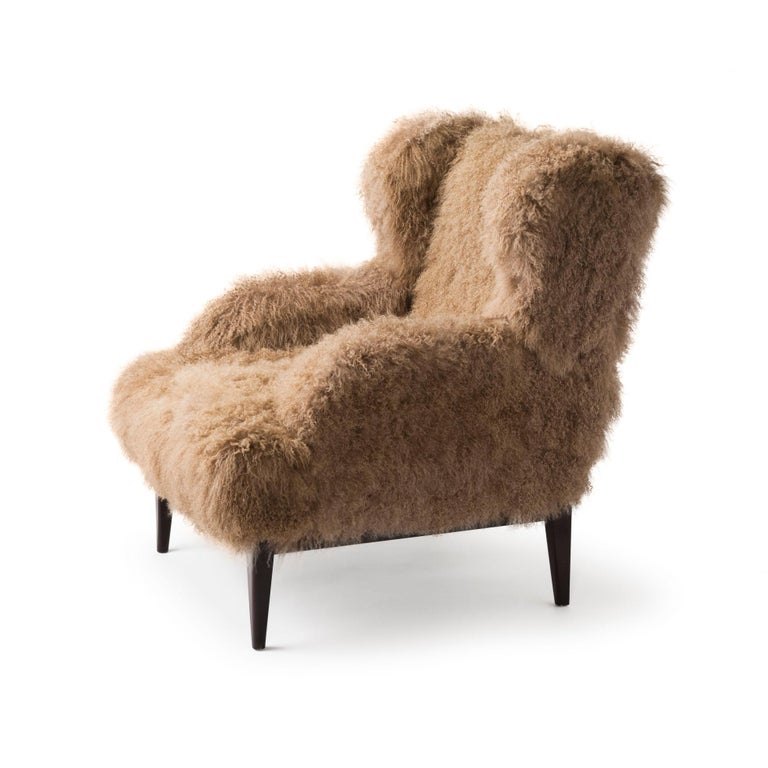 Modern Masculo Wing Chair, Contemporary High Back Mongolian Furry Armchair For Sale