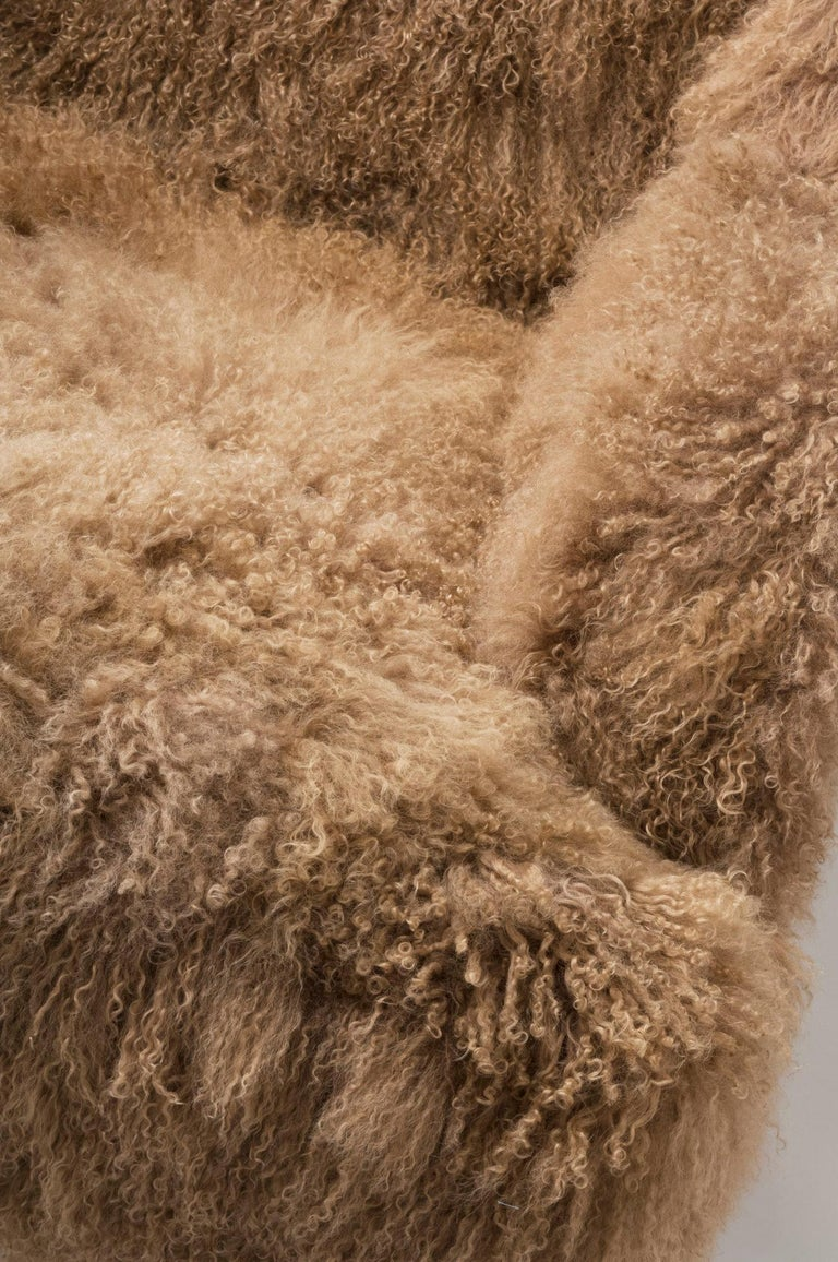 Asian Masculo Wing Chair, Contemporary High Back Mongolian Furry Armchair For Sale
