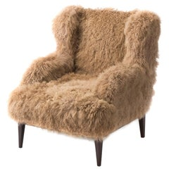 Masculo Wing Chair, Contemporary High Back Mongolian Furry Armchair