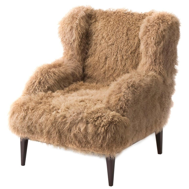Masculo Wing Chair, Contemporary High Back Mongolian Furry Armchair For Sale
