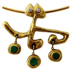 Masenza Roma Gold and Emerald Choker Attributed to Afro Basaldella, circa 1955