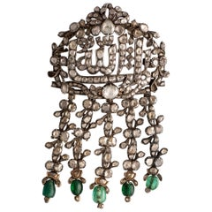 Mashallah Antique Rose Cut Diamond and Emerald Stomacher Brooch