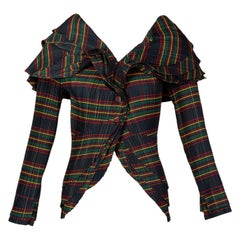 Mashiah Plisse Tartan Plaid Jacket Top Avant Garde