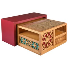 Mashrabiya Center Table, Modern Oriental Coffee Table in Arabesque Pattern Style