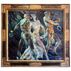 """""""Masked Dance,"""" Fabulous French Art Deco Painting Influenced by Ballet Russes"""