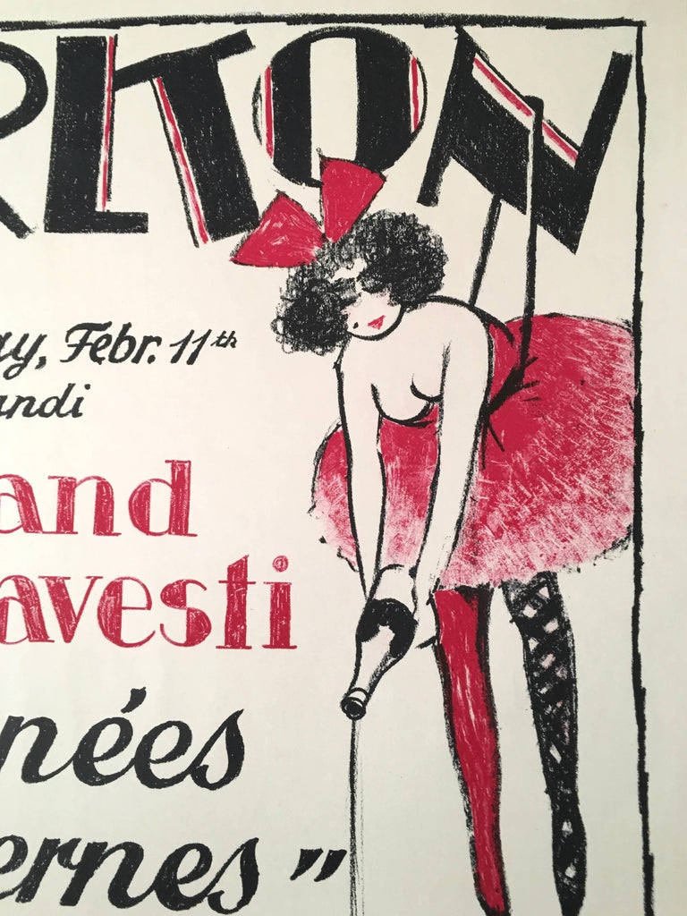 Early 20th Century Vintage Swiss Masked Ball Poster, circa 1920s For Sale