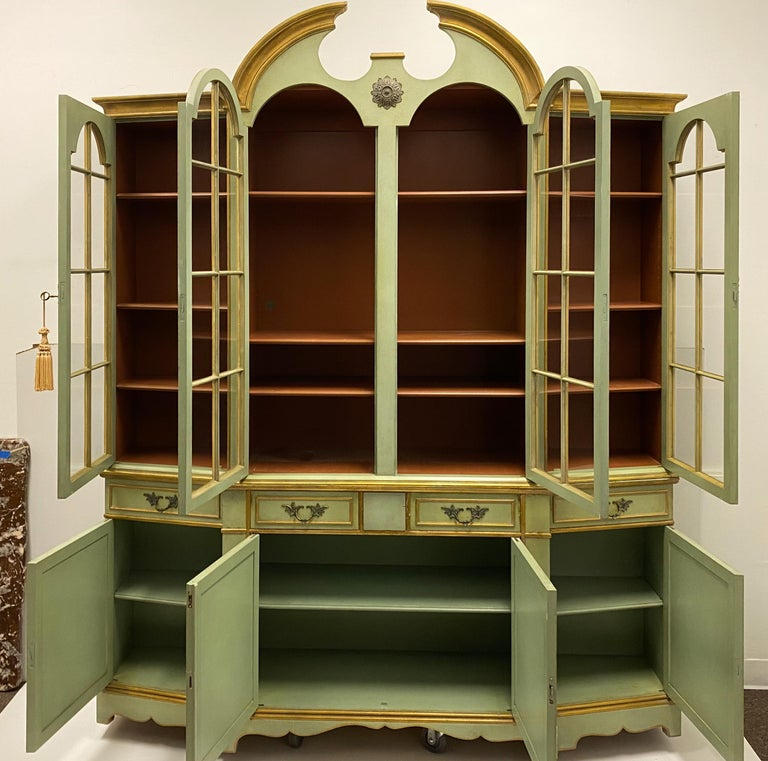 Glass Maslow Freen of New York Chippendale Style Painted Cabinet
