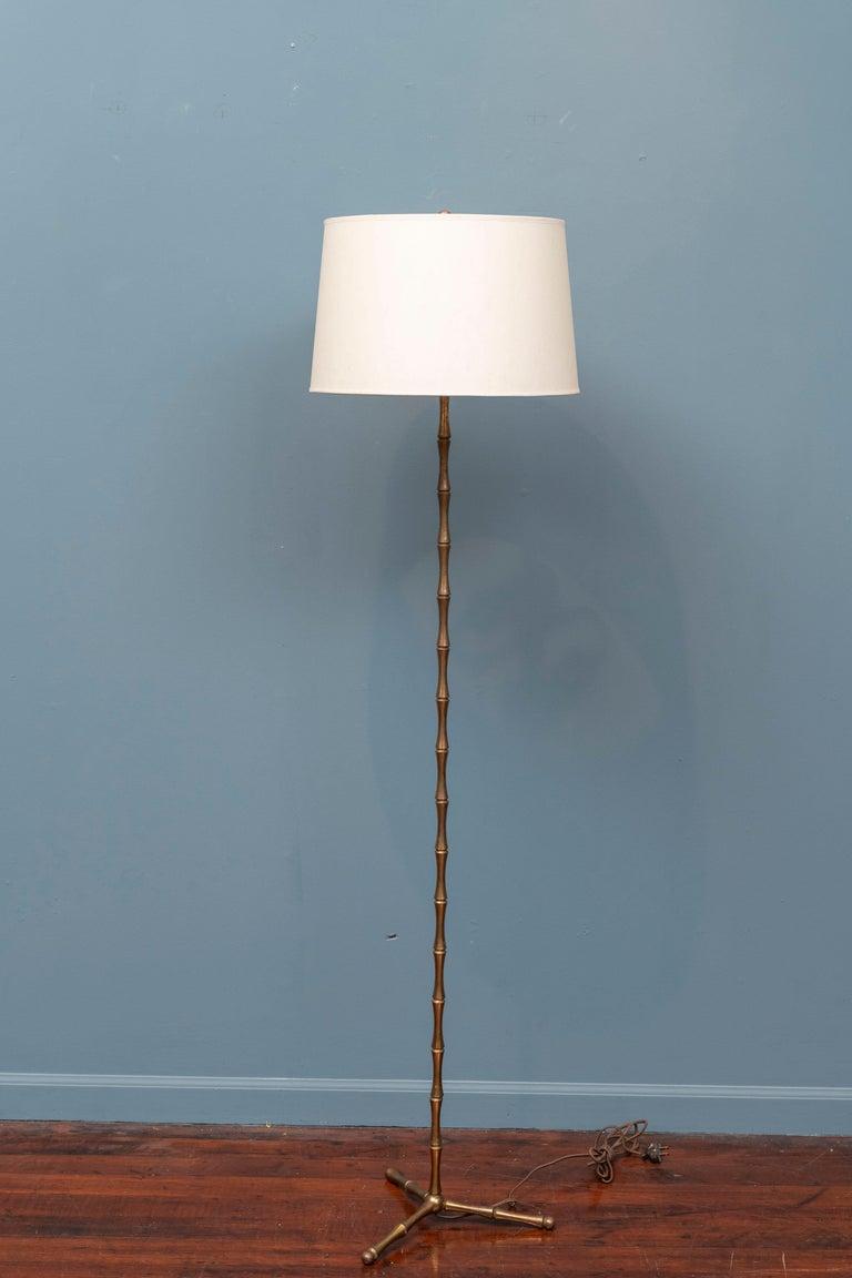 Brass Maison Baguès Bamboo Floor Lamp For Sale