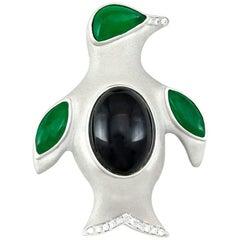 Mason-Kay Designer Natural Green Jade and Diamond Penguin Pin/Pendant