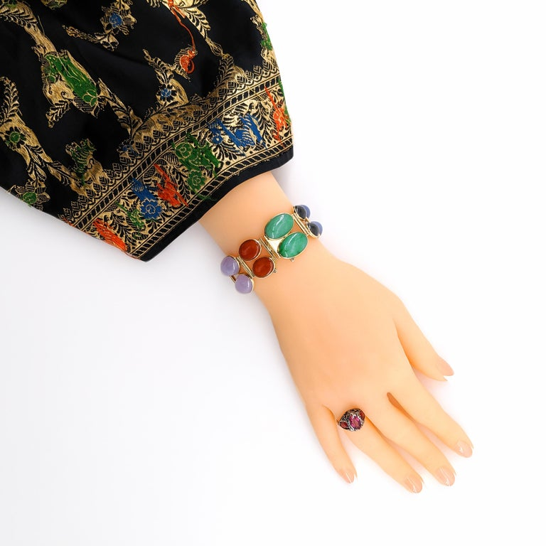 Jade Bracelet Cuff in Lavender, Green, Black, Red, Yellow and White For Sale 10
