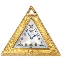 Masoniс Art Deco Triangle Pyramid Gold Watch Levrette Swiss, 1920