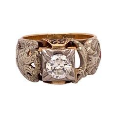 Masonic 10k Yellow Gold Men's Ring .85ct Genuine Natural Diamond Eagle '#J4838'