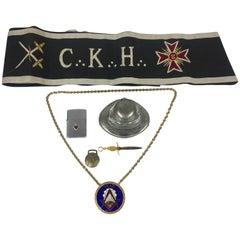 Masonic Brass Enamel Chain, Pewter Inkwell, Cloth Regalia