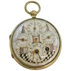 Masonic Calendar Key Winding Pocket Watch with Fusee Movement