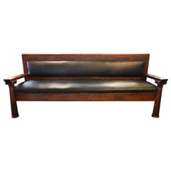Masonic Lodge Hand Carved Oak Upholstered Bench with Columns