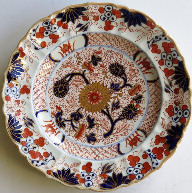 Hand-Painted Mason's Ironstone Desert Dish or Plate Rare Gold Chrysanthemum Ptn, circa 1818