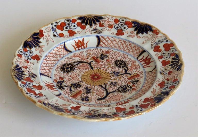 Mason's Ironstone Desert Dish or Plate Rare Gold Chrysanthemum Ptn, circa 1818 2